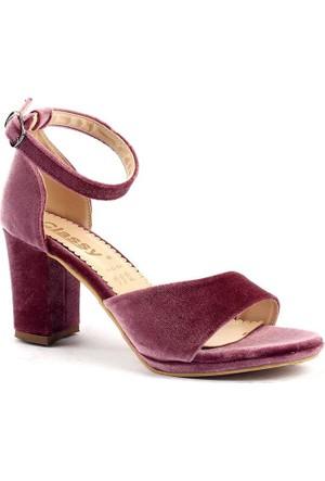 Classy 253 Günlük 7,5 Cm Topuklu Sandalet Bayan Süet Ayakkabı