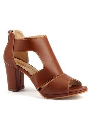Classy 283 7,5 Cm Topuklu Sandalet Bayan Cilt Ayakkabı