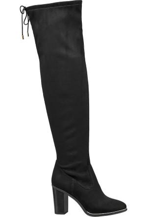 Catwalk Siyah Diz Üstü Çizme