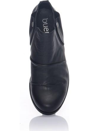 Bueno Siyah Deri Düz Taban Kadın Ayakkabı