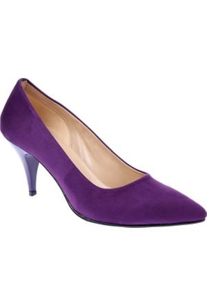 Shalin Klasik Mor Süet Kadın Ayakkabı - 015