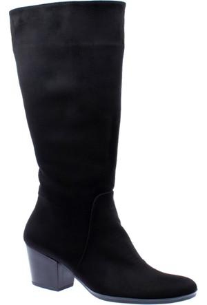 Shalin Kadın Çizme - Gül 250 Siyah Nubuk