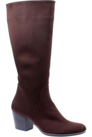 Shalin Kadın Çizme - Gül 250 Kahverengi Nubuk