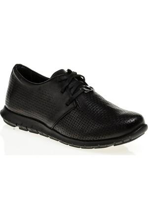 Derigo Gerçek Deri Bayan Casuel Ayakkabı Siyah 555125