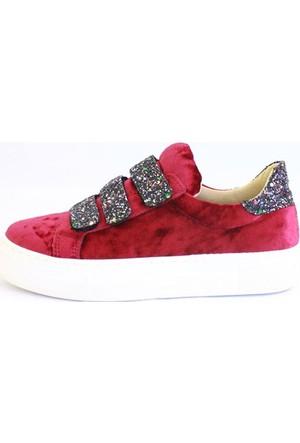 Shop And Shoes 031-102 Kadın Ayakkabı Bordo Kadife