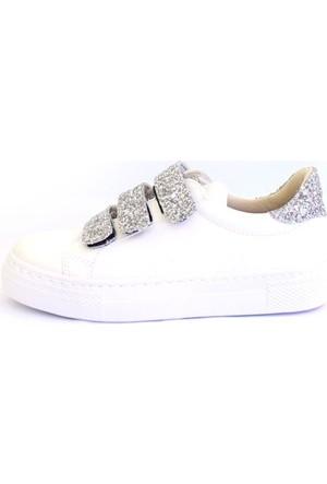 Shop And Shoes 031-102 Kadın Ayakkabı Beyaz Gümüş