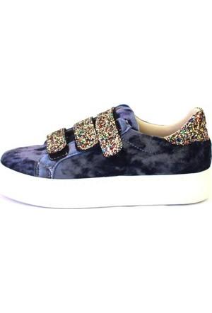 Shop And Shoes 031-102 Kadın Ayakkabı Mavi Kadife