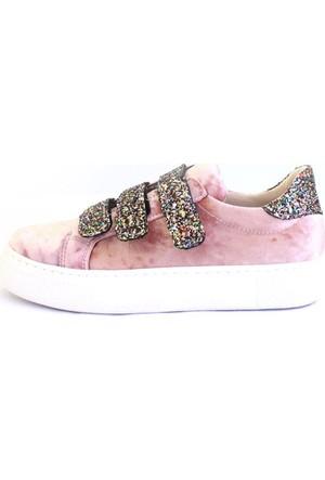 Shop And Shoes 031-102 Kadın Ayakkabı Pudra Kadife