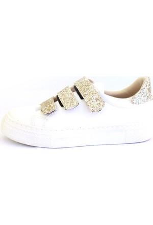 Shop And Shoes 031-102 Kadın Ayakkabı Beyaz Altın