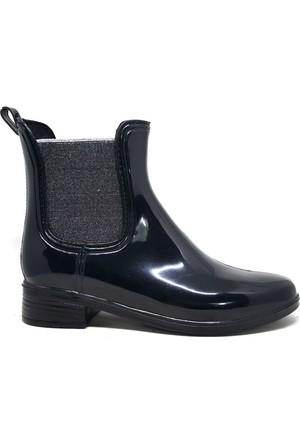 Shop And Shoes 062-035 Kadın Yağmur Botu Siyah Gümüş Sim