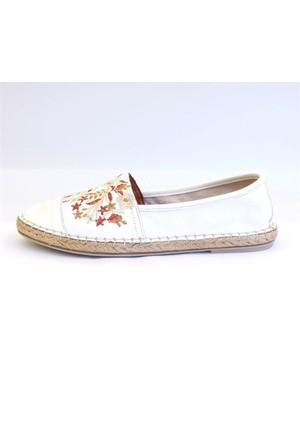 Shop And Shoes 100-7626 Kadın Babet Beyaz