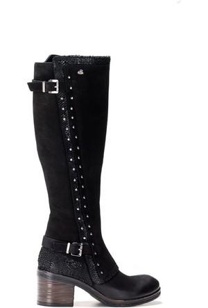 Shop And Shoes 121-464013 Kadın Çizme Siyah Nubuk