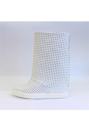 Shop And Shoes 122-0032 Kadın Bot Beyaz