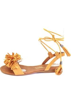Shop And Shoes 127-1725 Kadın Sandalet Hardal Süet