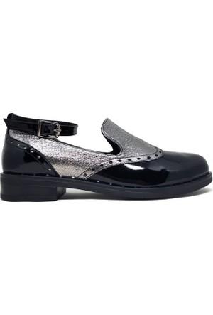 Shop And Shoes 150-1062 Kadın Ayakkabı Siyah Rugan Platin