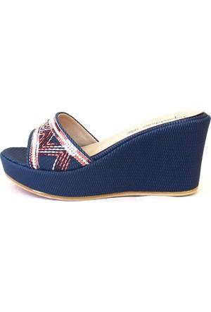 Shop And Shoes 155-3000-1 Kadın Terlik Mavi Nakışlı