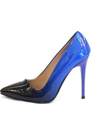 Shop And Shoes 162-070 Kadın Ayakkabı Siyah Rugan Saks Mavi Rugan