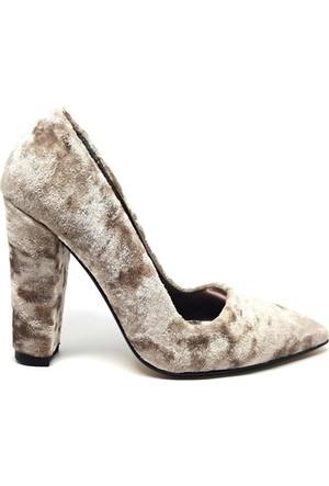 Shop And Shoes 164-260K Kadın Ayakkabı Pudra Kadife