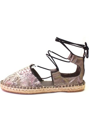 Shop And Shoes 172-1403 Kadın Ayakkabı Platin Yılan