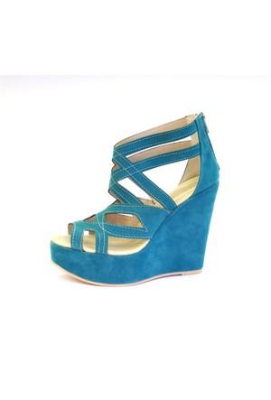 Shop And Shoes 173-17160 Kadın Ayakkabı Petrol Süet