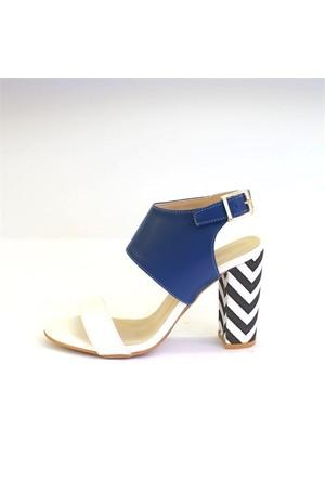 Shop And Shoes 173-955 Kadın Ayakkabı Beyaz Mavi