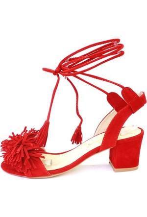 Shop And Shoes 174-722 Kadın Sandalet Kırmızı Süet