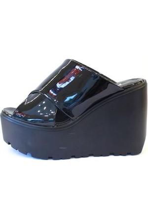 Shop And Shoes 184-101-8 Kadın Terlik Siyah Rugan