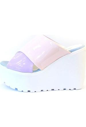 Shop And Shoes 184-101-8 Kadın Terlik Pudra Mor Rugan