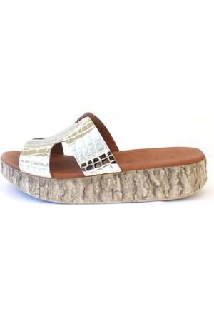 Shop And Shoes 185-56 Kadın Terlik Altın Kroko