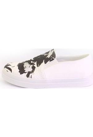 Shop And Shoes 185-70-1 Kadın Ayakkabı Beyaz Gümüş Anakonda