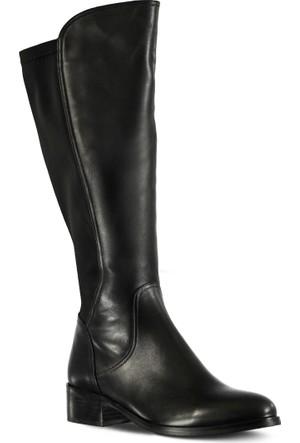 Marjin Asora Düz Deri Çizme Siyah