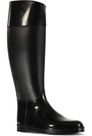 Marjin Filya Düz Yağmur Çizmesi Siyah