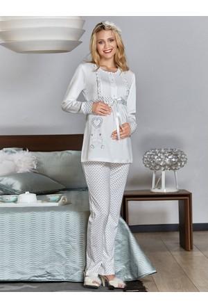 Flz Lohusa Emzirme Pijama Takım 24 - 199 Ekru