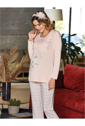Flz Lohusa Emzirme Pijama Takım 24 - 203 Pembe