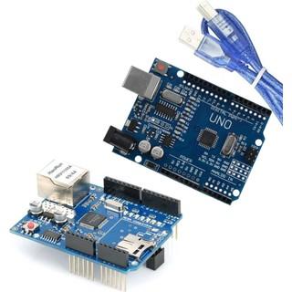 Arduino İkili Set (Klon Arduino Uno R3 CH340 Çip + Klon W5100 Ethernet Shield)