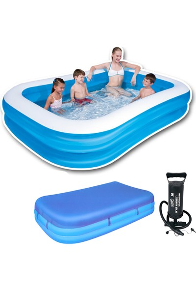 Bestway Mega Boy Dikdörtgen Şişme Çocuk Havuzu +Pompa + Havuz Örtüsü 262 x 175 x 51 cm - 54006