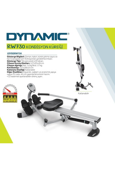 Dynamic Rw730 Amortisörlü Tam Kürek Aleti - Mafsallı, 12 Kademe Direnç Ayarlı, Katlanabilir