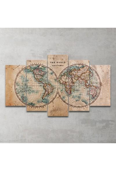 Plustablo Vintage Dünya Haritası 5 Parça MDF Tablo 100x60cm.