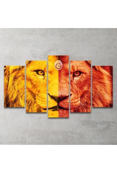 Plustablo Sarı Kırmızı Aslan 5 Parça MDF Tablo 100x60 cm