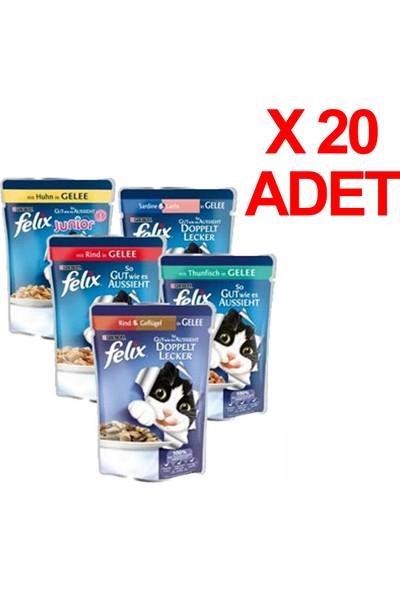 Felix Karışık Paket Pouch Kedi Konservesi 20 X 100 gr