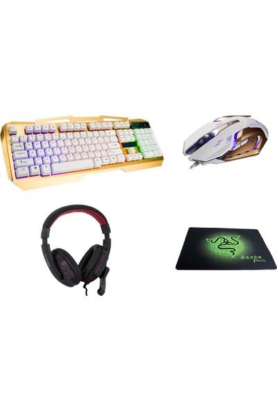 Gringo Pro Oyuncu Klavye Mouse Mikrofonlu Kulaklık Mousepad Oyuncu Seti