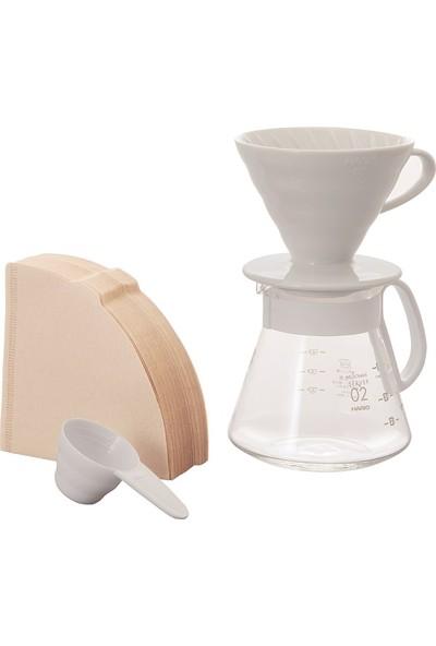 Hario V60 02 Seramik Kahve Demleme Kiti - Beyaz