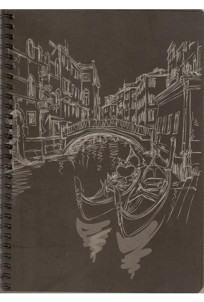 Lizy 17X24 Siyah Yapraklı Sketch Defter 48Yp 120Gr