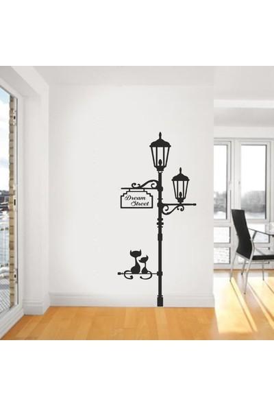 """Bisticker S-116 """"Sokak Lambası Oturan Kediler Dream Street"""" Duvar Sticker"""