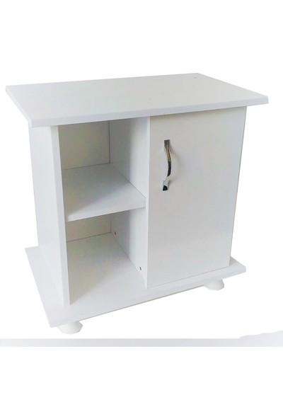 Kanki Pet Akvaryum Beyaz Düz Sehpa 65x40x67