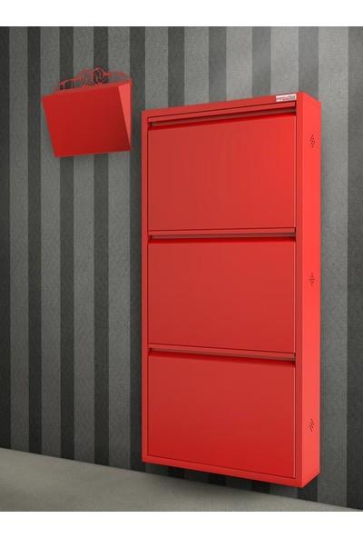 Pappuchbox Dz-1000 3'Lü Kırmızı Takım Metal Ayakkabılık