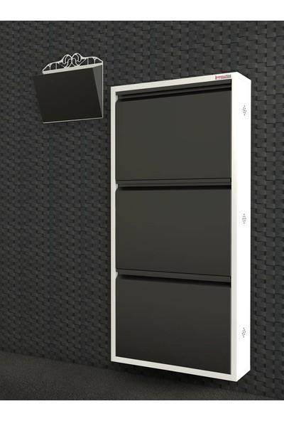 Pappuchbox Dz-1000 3'Lü Beyaz-Siyah Takım Metal Ayakkabılık