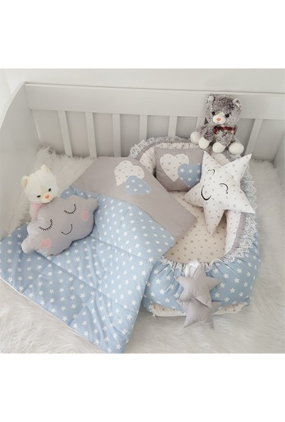 Jaju Baby Gri Beyaz Kalp Ve Yıldız Desenli Jaju Baby Seti
