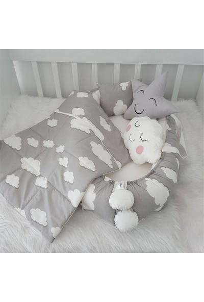 Jaju Baby Gri Beyaz Sevimli Bulut Desenli Jaju Baby Seti