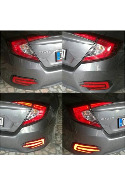 Honda Civic Fc5 2016 2017 Arka Tampon Led Aparatı Kalın Model